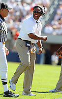 Oct 2, 2010; Charlottesville, VA, USA; Virginia head coach Mike London reacts to a call during the first half of the game against Florida State Seminoles at Scott Stadium.  Photo/The Daily Progress/Andrew Shurtleff
