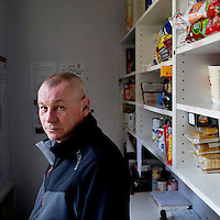 Stuart Hudson, manager of a distribution centre which supplies 27 foodbank centres around County Durham in the northeast of England.<br /> <br /> 'There is a full spectrum at food banks, you can't stereotype people who need a foodbank. We all have a mortgage and a bank loan and if you lose your job, it doesn't take long to be in the same boat&hellip;. <br /> <br /> We are looking after a family group who are victims of trafficking and they are not entitled to benefits whatsoever. Two are pregnant and they have two small children, so we will support them for a short time&hellip;. and then teach them how to put money away for hard times when their jobs aren't paying&hellip;.<br /> <br /> Quite a bit of it as well is poor money management, dealing with debts, summer holidays and christmas. Some people have to be relocated due to domestic violence, people split up, when things like that happen, its usually the one left with the kids, their bank accounts have been cleared out. We see people with nice cars and houses but no money to put food on the table. It's very hypocritical of the job centre to say you're sanctioned and here is the letter for the foodbank&hellip;.<br /> <br /> I look after 27 centres in Country Durham, with a couple of hundred volunteers.  Some are in churches, some in community centres&hellip;. <br /> <br /> You are trying for the food bank to be a triage service with high, medium and low need.  Maybe people get crisis loans when sanctioned and it's teaching them how to manage until that loan is paid back.'