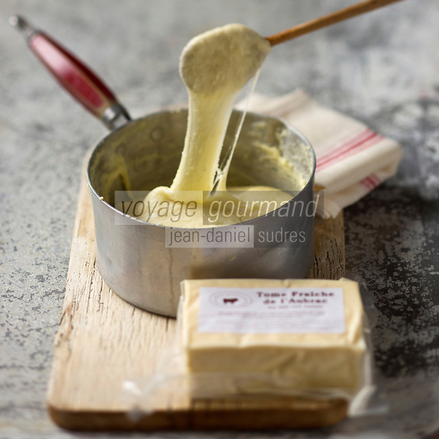 Europe/France/Midi-Pyrénées/12/Aveyron/Aubrac/Laguiole: Tomme fraiche de  la Coopérative Jeune Montagne . La tomme fraiche sert pour la préparation de l'aligot //  // France, Aveyron, Aubrac, Laguiole, fresh Tomme Cooperative Young Mountain, The fresh Tomme used for the preparation of Aligot