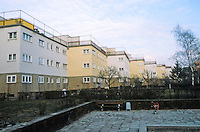 Frankfurt: Zig-zag Houses, north side, 1926-27. Playground area. Ernst May.