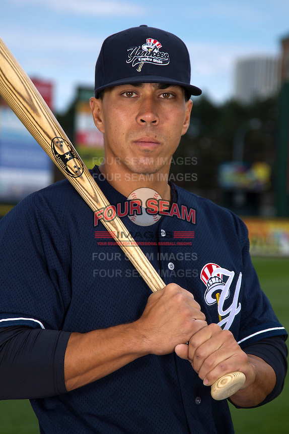 Scranton Wilkes-Barre Yankees outfielder Cole Garner #17 poses for a photo during media day at Frontier Field on April 3, 2012 in Rochester, New York.  (Mike Janes/Four Seam Images)