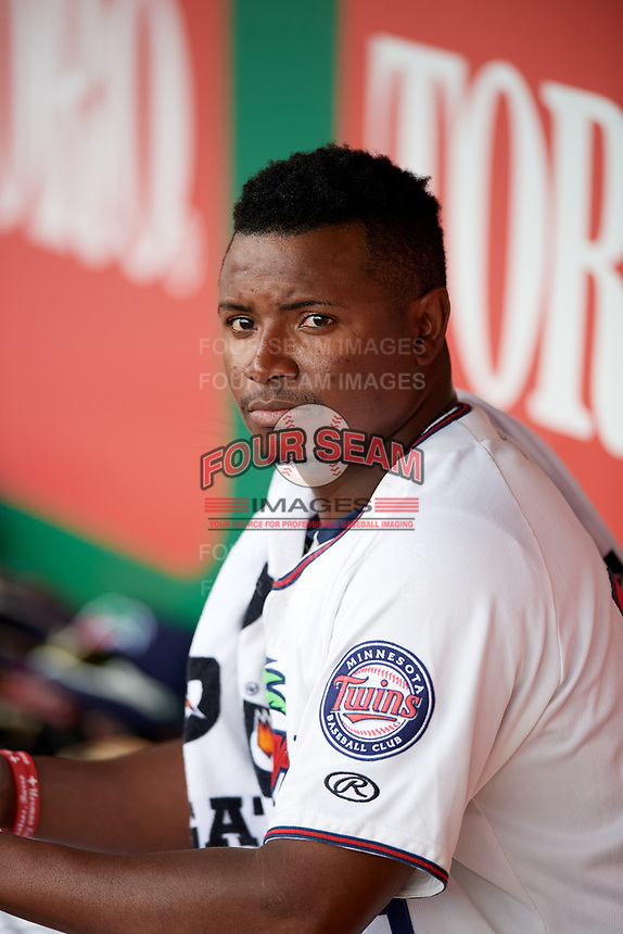 Fort Myers Miracle relief pitcher Randy Rosario (25) in the dugout during a game against the Jupiter Hammerheads on April 9, 2017 at CenturyLink Sports Complex in Fort Myers, Florida.  Jupiter defeated Fort Myers 3-2.  (Mike Janes/Four Seam Images)