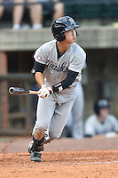 Pulaski Yankees shortstop Hoy Jun Park (34) swings at a pitch during a game against the Greeneville Astros on July 11, 2015 in Greeneville, Tennessee. The Yankees defeated the Astros 9-3. (Tony Farlow/Four Seam Images)