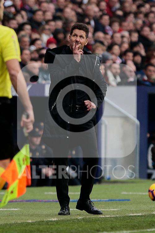 Atletico de Madrid's coach Diego Pablo Simeone during La Liga match between Atletico de Madrid and Real Madrid at Wanda Metropolitano Stadium in Madrid, Spain. February 09, 2019. (ALTERPHOTOS/A. Perez Meca)