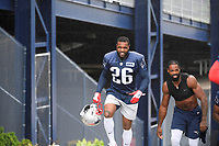 July 26, 2018: New England Patriots defensive back Eddie Pleasant (26) heads to practice at the New England Patriots training camp held on the practice fields at Gillette Stadium, in Foxborough, Massachusetts. Eric Canha/CSM
