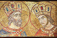 14th century mosaics of the profets David & Solomon from the South Wall of the Ante Baptsitery.  Basilica San Marco ( St Mark's Basilica ) Venice, Italy