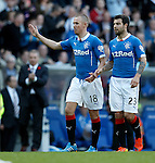 Kenny Miller scores the third goal for Rangers and celebrates his strike