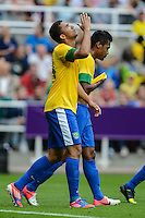 01.08.2012 Newcastle, England. Danilo celebrates his goal during the Olympic Football Men's Preliminary game between Brazil and New Zealand from St James Park.