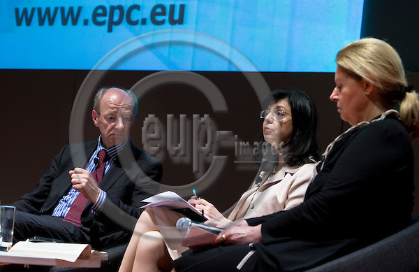 """BRUSSELS  -  BELGIUM  - 16 JUNE 2011 -- European Policy Centre (EPC) Annual Conference - Panel Debate """"State Of The Union"""". -- Moderator Josef JANNING, Director of Studies at the EPC; Meglena KUNEVA, the Head of the Governing Board of EPC - former EU-Commissioner for Consumer Protection and Erika MANN, Former MEP - Vice-President of the Advisory Council of the EPC.  -- PHOTO: Juha ROININEN /  EUP-IMAGES"""