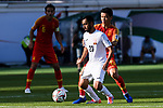 Akhlidin Israilov of Kyrgyz Republic (L) fights for the ball with Chi Zhongguo of China (R) during the AFC Asian Cup UAE 2019 Group C match between China (CHN) and Kyrgyz Republic (KGZ) at Khalifa Bin Zayed Stadium on 07 January 2019 in Al Ain, United Arab Emirates. Photo by Marcio Rodrigo Machado / Power Sport Images