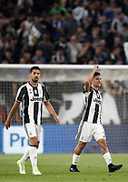 Football Soccer: UEFA Champions UEFA Champions League quarter final first leg Juventus-Barcellona, Juventus stadium, Turin, Italy, April 11, 2017. <br /> Juventus Paulo Dybala (r) celebrates with his teammate  Sami Khedira (l) after scoring during the Uefa Champions League football match between Juventus and Barcelona at the Juventus stadium, on April 11 ,2017.<br /> UPDATE IMAGES PRESS/Isabella Bonotto