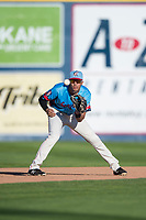 Spokane Indians third baseman Diosbel Arias (21) waits to receive a throw during a Northwest League game against the Vancouver Canadians at Avista Stadium on September 2, 2018 in Spokane, Washington. The Spokane Indians defeated the Vancouver Canadians by a score of 3-1. (Zachary Lucy/Four Seam Images)