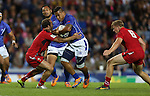 Glasgow 2014 Commonwealth Games<br /> Alatasi Tupou crashes into Will Harries.<br /> Wales v Samoa<br /> Ibrox Stadium<br /> <br /> 26.07.14<br /> &copy;Steve Pope-SPORTINGWALES