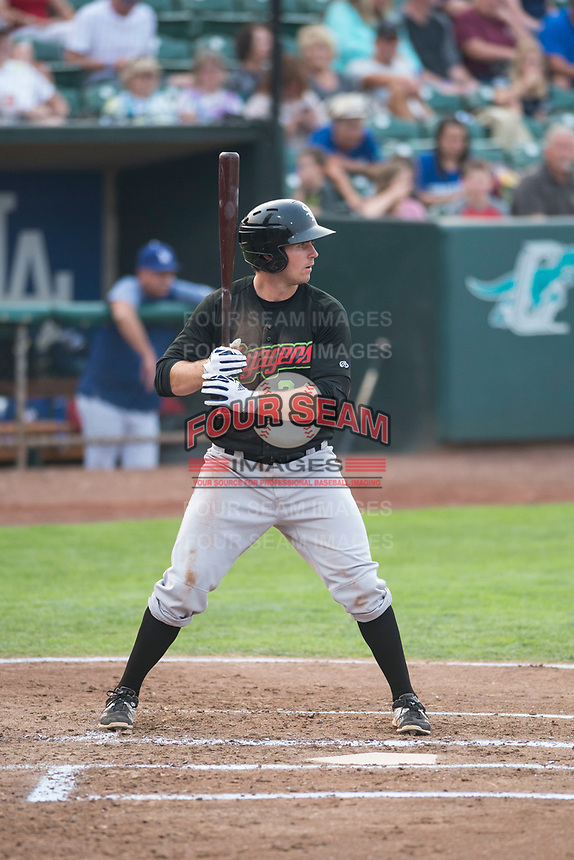 Great Falls Voyagers first baseman Ryan Fitzpatrick (34) at bat during a Pioneer League against the Ogden Raptors at Lindquist Field on August 23, 2018 in Ogden, Utah. The Ogden Raptors defeated the Great Falls Voyagers by a score of 8-7. (Zachary Lucy/Four Seam Images)