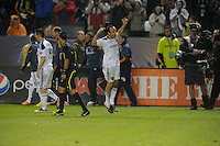 Los Angeles Galaxy's London Donovan cheers after kicking in the winning goal against Houston Dynamo to make the score  1-0 in the MLS Cup at the Home Depot Center. Los Angeles Galaxy 1-0 over the Dynamo USA, Sunday, Nov. 20. 20011, in Carson, California. Photo by Matt A. Brown/isiphotos.com