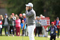 Tyrrell Hatton (ENG) misses his birdie putt on the 16th green during Sunday's Final Round of the 2017 Omega European Masters held at Golf Club Crans-Sur-Sierre, Crans Montana, Switzerland. 10th September 2017.<br /> Picture: Eoin Clarke | Golffile<br /> <br /> <br /> All photos usage must carry mandatory copyright credit (&copy; Golffile | Eoin Clarke)