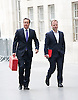 David Cameron arriving at the Andrew Marr show <br /> at The BBC, New Broadcasting House, London, Great Britain <br /> 11th May 2014 <br /> <br /> Rt Hon David Cameron MP<br /> Leader of the Conservatives<br /> British Prime Minister <br /> <br /> Also pictured: <br /> <br /> Barney Jones<br /> editor of The Andrew Marr Show <br /> <br /> Antony Jenkins<br /> is a British business executive. He is the Group chief executive of Barclays since 30 August 2012.