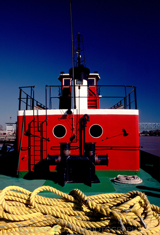 Details of a working tug boat along the intercoastal waterway, North Carolina.