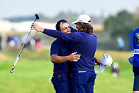 30th September 2018, National Golf Centre, Guyancourt, Yvelines department in the Île-de-France,  north-central France; 42nd Ryder Cup tournament, Europe versus USA; Francesco Molinari of Italy (Team Europe) with Tommy Fleetwood of England (Team Europe)