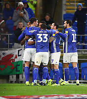 26th November 2019; Cardiff City Stadium, Cardiff, Glamorgan, Wales; English Championship Football, Cardiff City versus Stoke City; Cardiff City celebrate after Leandro Bacuna of Cardiff City 11th minute goal makes it 1-0 - Strictly Editorial Use Only. No use with unauthorized audio, video, data, fixture lists, club/league logos or 'live' services. Online in-match use limited to 120 images, no video emulation. No use in betting, games or single club/league/player publications