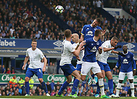 Everton's Phil Jagielka rises above Leicester City's Islam Slimani (right and Andy King (left to head his sides third goal<br /> <br /> Photographer Stephen White/CameraSport<br /> <br /> The Premier League - Everton v Leicester City - Sunday April 9th 2017 - Goodison Park - Liverpool<br /> <br /> World Copyright &copy; 2017 CameraSport. All rights reserved. 43 Linden Ave. Countesthorpe. Leicester. England. LE8 5PG - Tel: +44 (0) 116 277 4147 - admin@camerasport.com - www.camerasport.com