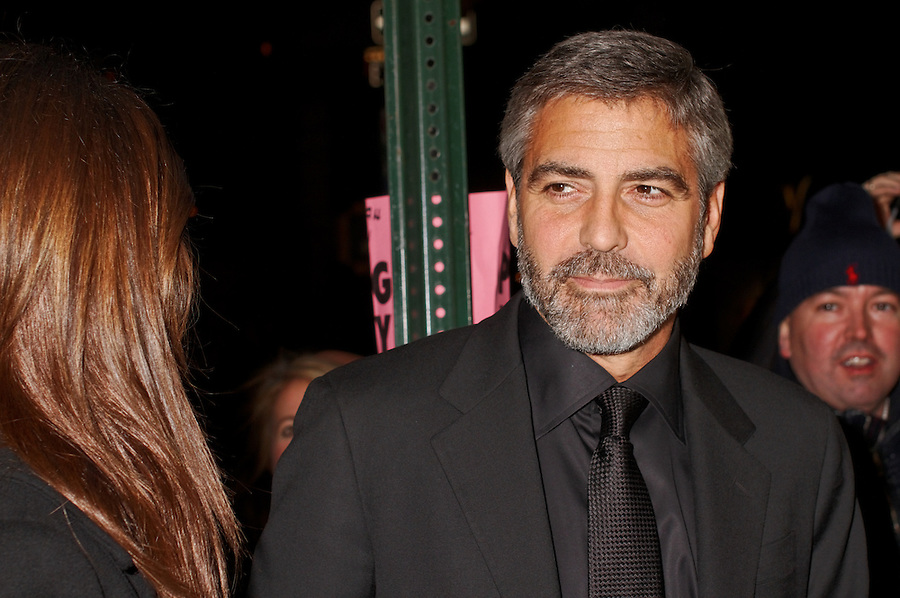 George Clooney and Elisabetta Canalis arrive for the New York Film Critics Circle Awards in New York City.