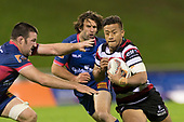 Tim Nanai-Williams makes a break past Alex Ainley. Mitre 10 Cup game between Counties Manukau Steelers and Tasman Mako's, played at ECOLight Stadium Pukekohe on Saturday October 14th 2017. Counties Manukau won the game 52 - 30 after trailing 22 - 19 at halftime. <br /> Photo by Richard Spranger.
