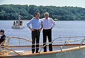 United States President George H.W. Bush, left, and President Boris Yeltsin of the Russian Federation, right, on the deck as they take a boat ride on the Severn River in Maryland on June 17, 1992. <br />