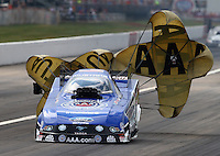 Sept. 2, 2013; Clermont, IN, USA: NHRA funny car driver Robert Hight during the US Nationals at Lucas Oil Raceway. Mandatory Credit: Mark J. Rebilas-