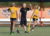 Houston, TX - Friday Oct. 07, 2016: Lynn Williams, Paul Riley during training prior to the National Women's Soccer League (NWSL) Championship match between the Washington Spirit and the Western New York Flash at BBVA Compass Stadium.