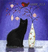 Kate, CHRISTMAS ANIMALS, WEIHNACHTEN TIERE, NAVIDAD ANIMALES, paintings+++++Christmas page 4 3,GBKM513,#xa# ,cat,cats