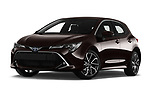 Stock pictures of low aggressive front three quarter view of 2019 Toyota Corolla-Hybrid Premium 5 Door Hatchback Low Aggressive