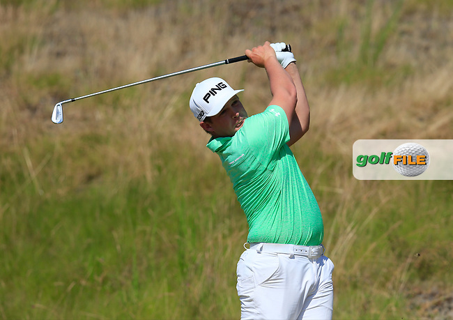 Daniel Summerhays (USA) tees off the 9th tee during Saturday's Round 3 of the 2015 U.S. Open 115th National Championship held at Chambers Bay, Seattle, Washington, USA. 6/21/2015.<br /> Picture: Golffile | Eoin Clarke<br /> <br /> <br /> <br /> <br /> All photo usage must carry mandatory copyright credit (&copy; Golffile | Eoin Clarke)