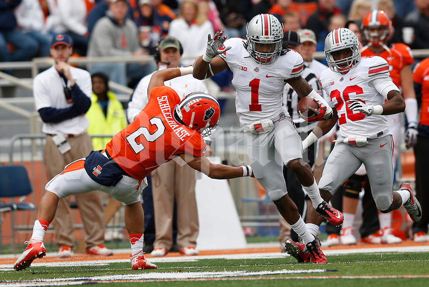 Ohio State Buckeyes cornerback Bradley Roby (1) evades Illinois Fighting Illini quarterback Nathan Scheelhaase (2) after catching a tipped pass thrown by Scheelhaase during Saturday's NCAA Division I football game at Memorial Stadium in Champaign, Il., on November 16, 2013. Ohio State won the game 60-35. (Barbara J. Perenic/The Columbus Dispatch)