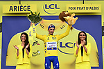 Race leader Julian Alaphilippe (FRA) Deceuninck-Quick Step retains the Yellow Jersey at the end of Stage 15 of the 2019 Tour de France running 185km from Limoux to Foix Prat d'Albis, France. 20th July 2019.<br /> Picture: ASO/Alex Broadway | Cyclefile<br /> All photos usage must carry mandatory copyright credit (© Cyclefile | ASO/Alex Broadway)