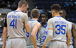 January 20, 2016 - Colorado Springs, Colorado, U.S. -  Air Force players huddle during an NCAA basketball game between the Colorado State University Rams and the Air Force Academy Falcons at Clune Arena, United States Air Force Academy, Colorado Springs, Colorado.  Colorado State defeats Air Force 83-79.