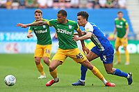Preston North End's Lukas Nmecha gets away from Wigan Athletic's Antonee Robinson<br /> <br /> Photographer David Shipman/CameraSport<br /> <br /> The EFL Sky Bet Championship - Wigan Athletic v Preston North End - Monday 22nd April 2019 - DW Stadium - Wigan<br /> <br /> World Copyright © 2019 CameraSport. All rights reserved. 43 Linden Ave. Countesthorpe. Leicester. England. LE8 5PG - Tel: +44 (0) 116 277 4147 - admin@camerasport.com - www.camerasport.com