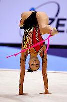 Anna Bessonova of Ukraine recatch with rope during AA final at World Championships at Baku, Azerbaijan on October 8, 2005. Bessonova won silver in All-Around. (Photo by Tom Theobald)