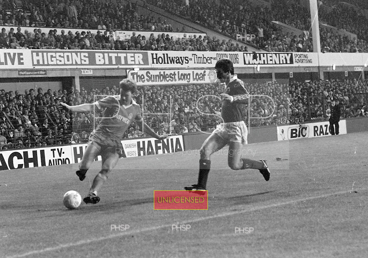 26/08/1980 Everton v Blackpool League Cup 2nd Round 1st Leg .Dave Hockaday attacks down the right wing....© Phill Heywood.
