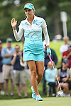 Lexi Thompson acknowledge the fans on the 12th green atat the LPGA Championship 2014 Sponsored By Wegmans at Monroe Golf Club in Pittsford, New York on August 13, 2014