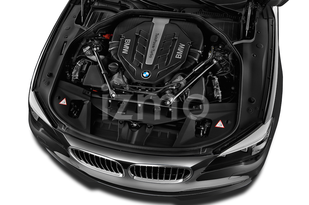 High angle engine detail of a  2013 BMW 7 Series 750Li