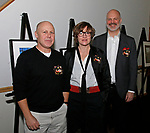 Cheshire, CT- 111117MK11 (from left) Kevin Daly, Irona Somogyi and co-director Jeffery Guimond gathered during the Ball and Socket Arts launch of their Bricks and Glass $2 million capital campaign at the Waverly Inn in Cheshire on Saturday night Michael Kabelka / Republican-American