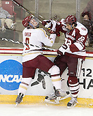 Barry Almeida (BC - 9), Michael Marcou (UMass - 22) - The Boston College Eagles defeated the visiting University of Massachusetts-Amherst Minutemen 2-1 in the opening game of their 2012 Hockey East quarterfinal matchup on Friday, March 9, 2012, at Kelley Rink at Conte Forum in Chestnut Hill, Massachusetts.