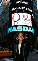 Sanya Richards in front of NASDAQ Market site in Times Square after the closing bell on Wednesday, January, 2, 2008. Photo by Errol Anderson, The Sporting Image.