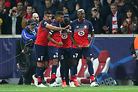 Victor Osimhen of Lille OSC celebrates scoring the first Lille  goal during Lille OSC vs Chelsea, UEFA Champions League Football at Stade Pierre-Mauroy on 2nd October 2019