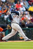 Detroit Tigers first baseman Prince Fielder (28) follows through on his swing during the MLB baseball game against the Houston Astros on May 3, 2013 at Minute Maid Park in Houston, Texas. Detroit defeated Houston 4-3. (Andrew Woolley/Four Seam Images).