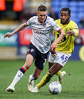 Bolton Wanderers' Craig Noone competing with Blackburn Rovers' Kasey Palmer<br /> <br /> Photographer Andrew Kearns/CameraSport<br /> <br /> The EFL Sky Bet Championship - Bolton Wanderers v Blackburn Rovers - Saturday 6th October 2018 - University of Bolton Stadium - Bolton<br /> <br /> World Copyright &copy; 2018 CameraSport. All rights reserved. 43 Linden Ave. Countesthorpe. Leicester. England. LE8 5PG - Tel: +44 (0) 116 277 4147 - admin@camerasport.com - www.camerasport.com