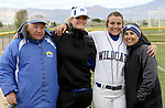 Druelle Kierstead with coaches at the Sophomore Day celebration after the first game of the Western Nevada College softball doubleheader on Saturday, April 30, 2016 at Pete Livermore Sports Complex. Photo by Shannon Litz/Nevada Photo Source