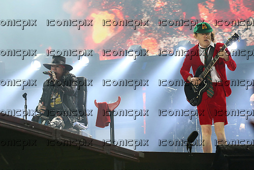 AC/DC - Angus Young &amp; Axl Rose - performing live at the Passeio Martimo De Alge in Lisbon Portugal - <br /> 07 May 2016.  Photo credit:  Thomas Zeidler/Dalle/IconicPix