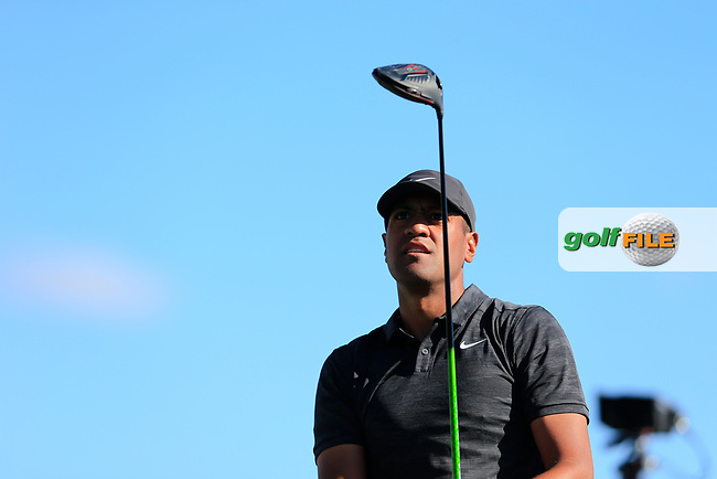 Tony Finau (USA) on the 3rd tee during the 2nd round of the Waste Management Phoenix Open, TPC Scottsdale, Scottsdale, Arisona, USA. 01/02/2019.<br /> Picture Fran Caffrey / Golffile.ie<br /> <br /> All photo usage must carry mandatory copyright credit (© Golffile | Fran Caffrey)